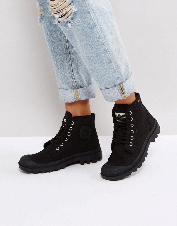 Palladium Pampa Hi Originale Black Canvas Flat Ankle Boots - Black: Boots  by Palladium, Canvas upper, Lace-up fastening, Branded tongue, ...