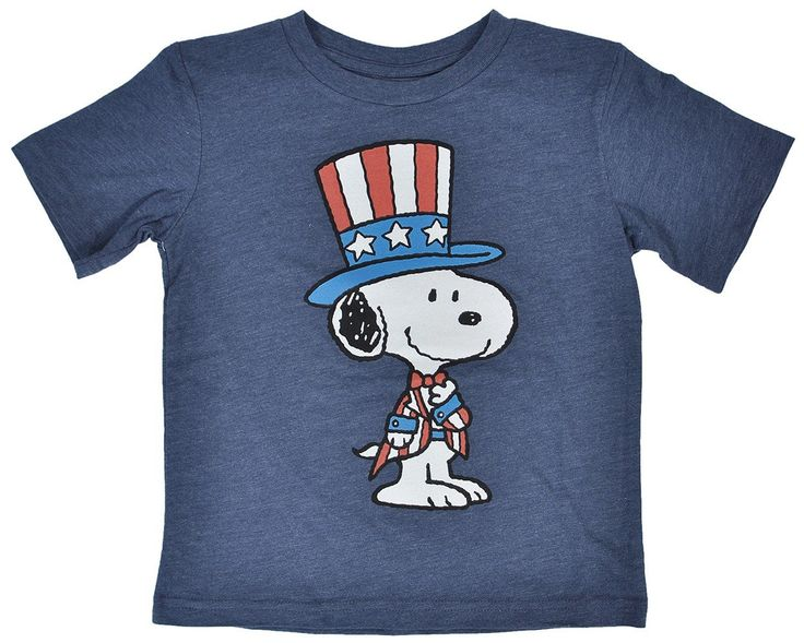 Peanuts Gang Snoopy Toddlers T-Shirt Heather Blue Uncle Sam USA July 4th print