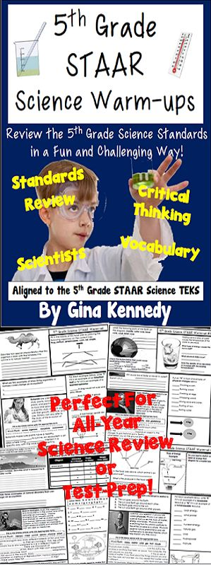 Everything you need to prepare your students for their 5th Grade STAAR Science Test. Thirty-two full-page warm-ups with multiple activities and concepts covered on each page. From vocabulary, puzzles, fill-in the blank, multiple choice and more, the activities and questions will challenge your students to remember the important concepts they are learning in science class. 100% aligned to newest 5th Grade Texas Science TEKS, covering all of the standards. $