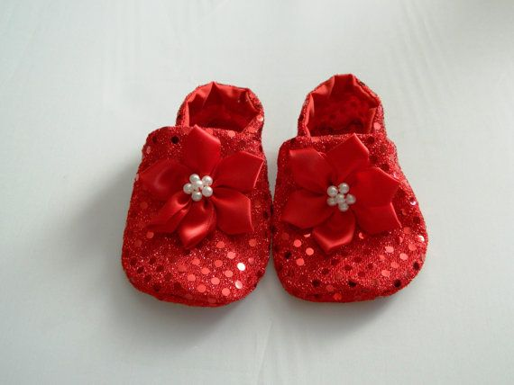 Baby Red Sparkly Shoes Super Soft and Comfy with L by pcarrasco
