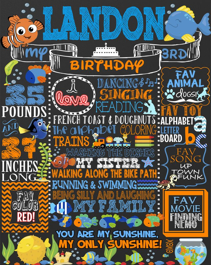 Nemo birthday Party Decorations, Finding Nemo party ideas, custom Nemo and fish chalkboard party sign