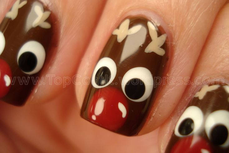 i dont wanna think about christmas time yet , im not ready to be cold all the time. But these are a cute nail art idea for when Christmas comes around! Rudolph the red nosed reindeer