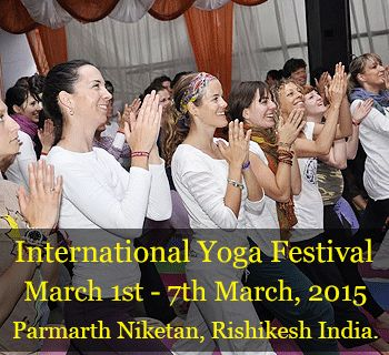 """Yoga literally means """"Union"""" – a union of breath with body, union of mind with muscles, and most importantly the union of self with the divine.But in this day and age, this union is unmanageable and hence, is all the more important. In order to achieve this union, come rejuvenate at the International Yoga Festival from March 1st – 7th in Parmarth Niketan, Rishikesh."""