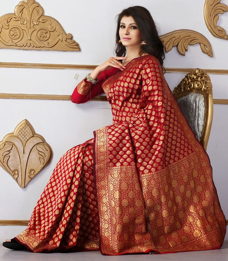 136856: Red and Maroon color family Party Wear Sarees with matching unstitched blouse.