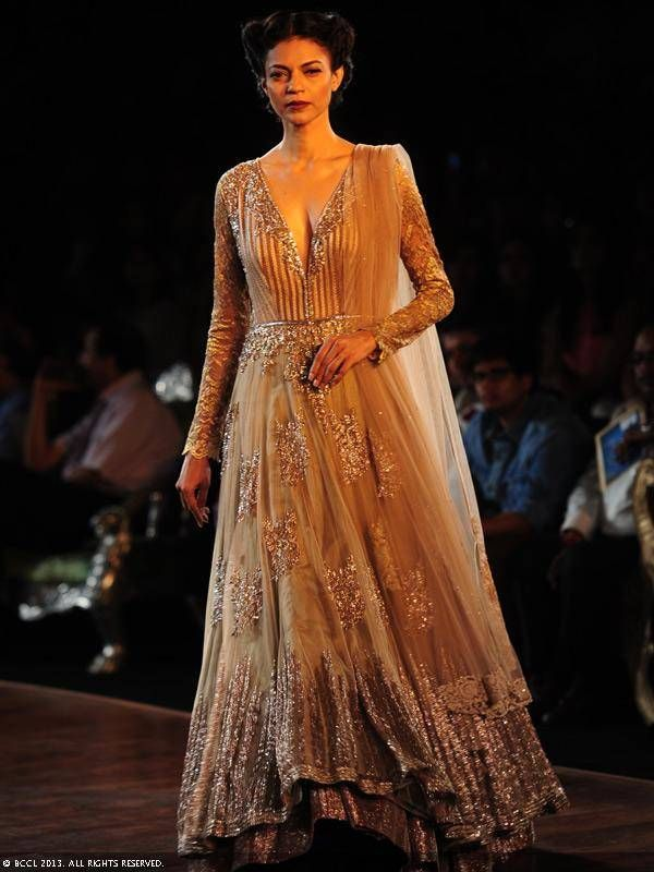 Gold anarkali by Manish Malhotra at Delhi Couture Week 2013