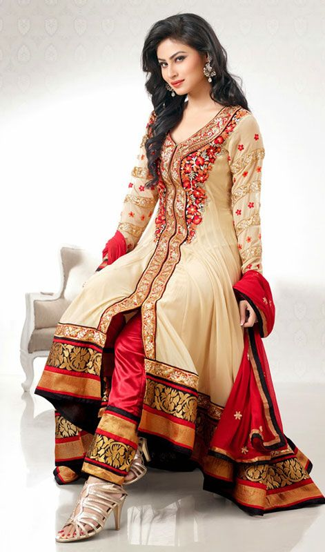 Beige Mouni Roy Embroidered Georgette Churidar Suit Price: Usa Dollar $119, British UK Pound £70, Euro88, Canada CA$128 , Indian Rs6426.