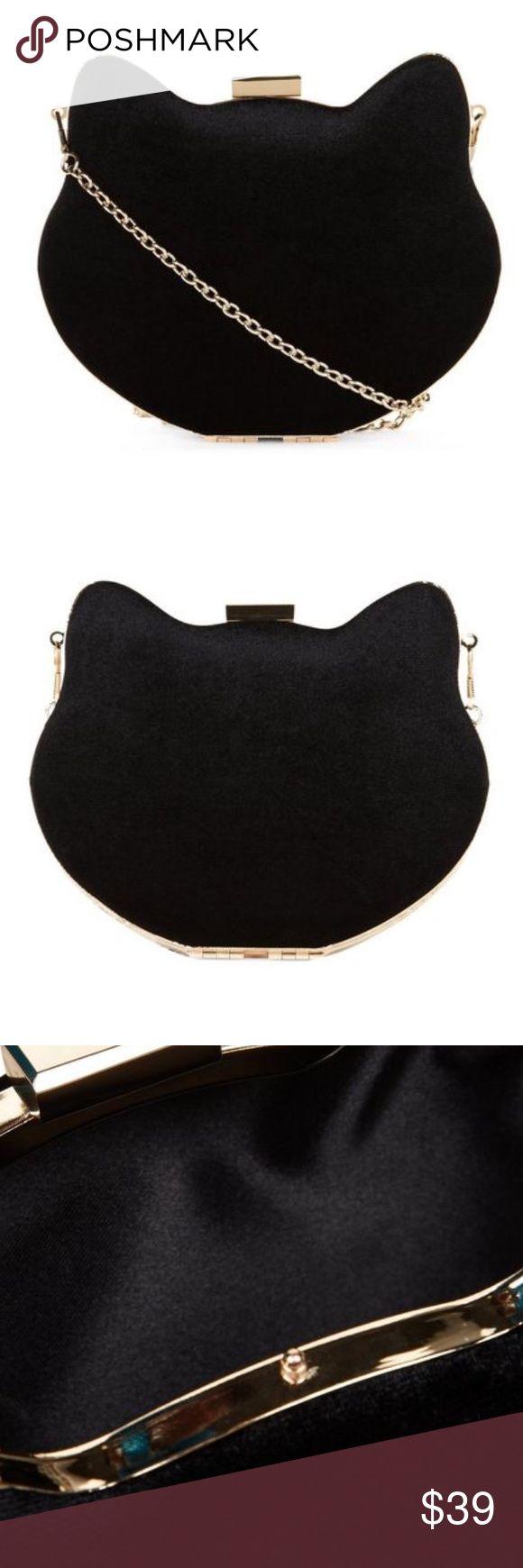 New Look  Black Cat Box Clutch Bag , - Cat design New Look  Black Cat Box Clutch Bag , - Cat design- Gold trim- Optional chain strap- Clip top fastening New Look Bags Mini Bags