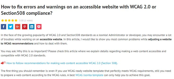 How to fix popular errors and warnings on an accessible website with WCAG 2.0 or Section508 compliance? #howtojoomla #tutorial #accessible #wcag #section508 #compliance #fix #website