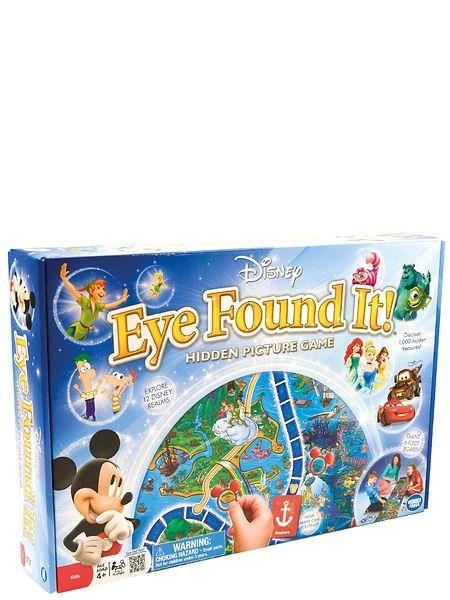 Eye Found It! -pelissä suuri pelilauta johdattaa pelaajat upeasti kuvitettuihin satumaailmoihin. Matkalla tapaat kaikki suosikkihahmosi Salama McQueenistä Peter Paniin samalla kun etsit piilotettuja aarteita. Peli sopii 2–6 pelaajalle.
