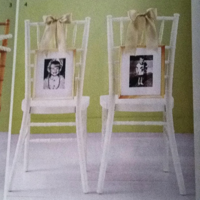 Cute idea for bride & groom chairs