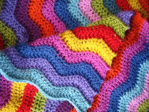 Chrochet waves blanket