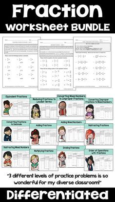 This fraction worksheet bundle has differentiated or leveled worksheets for 3rd grade, 4th grade, or 5th grade students. Some of the topics include adding fractions, subtracting fractions, multiplying fractions, dividing fractions, comparing fractions, simplifying fractions, improper fractions, and equivalent fractions. Each of the 12 topics includes 3 differentiated worksheets with answer keys for easy grading. The helpful notes on the top of each page make teaching fractions easy.