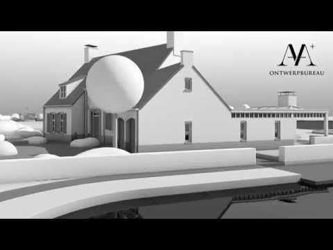 ▶ Villa met tuin en dierenweide aan 't water. schetsontwerp 3D - YouTube