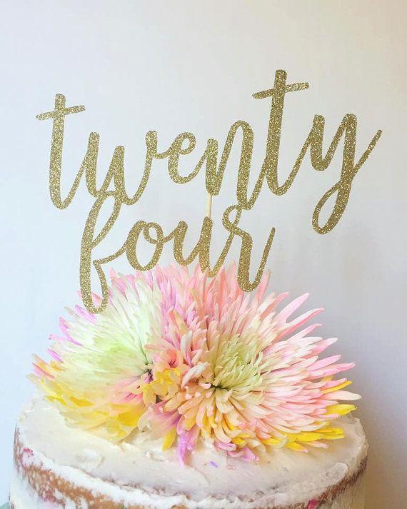 Twenty Four Birthday Cake Topper 24th Birthday by TheLittlePopShop