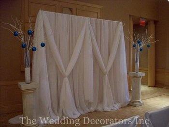 Wedding, White, Ceremony, Elegant, Backdrop, Draping, The wedding decorators inc