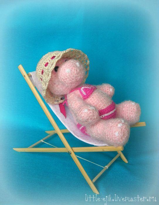 Купить бегемошка Сима - бледно-розовый, бегемотик, бегемоты, бегемот, шезлонг…