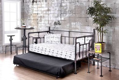 Industrial Pipe Like Antique Black Daybed with Trundle