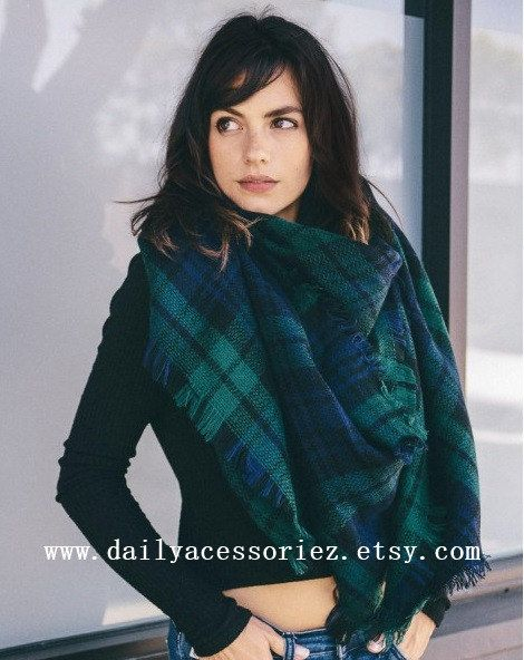 Plaid Blanket Scarf Winter Scarf Womens by Dailyaccessoriez-Plaid Tartan-Green and blue one shown on model