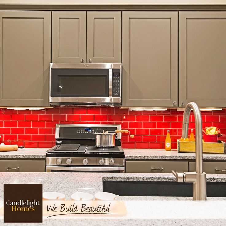 All This Festive Red Backsplash Needs Is A Little Blue And White! Happy  Fourth Of
