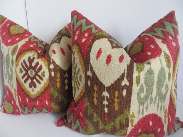 Ikat Red Pillow Covers - 20x20-Ikat Decorative Pillow - Ikat Brown and Taupe Pillow Cover -,Multicolor Ikat Pillow - Beige Pillow by ClavelFashion on Etsy https://www.etsy.com/listing/248943235/ikat-red-pillow-covers-20x20-ikat