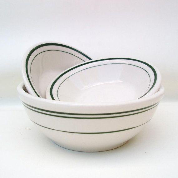 -- on order  Vintage Ironstone Bowls, Green Stripe Bowls, Restaurant Ware,Cereal Bowl, Hotel Ware, Buffalo China, Lot of 3