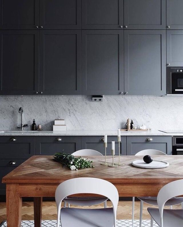 Love this grey and marble kitchen!
