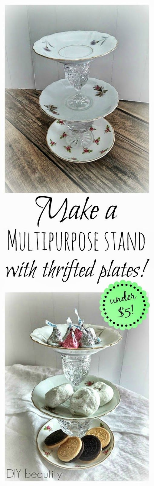 How to Make Tiered Plate Stands for Under $5 www.diybeautify.com