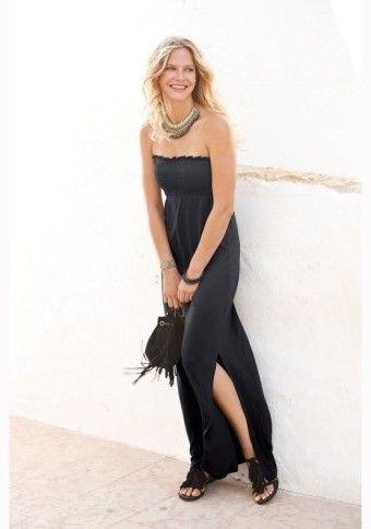 Dlhé šaty bez ramienok #ModinoSK #Black #dress