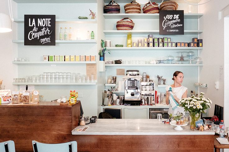 Our favorite view of the pastel interiors, the coffee shop counter with handlettering and colorful tea selection, Ou Bien Encore Geneva.