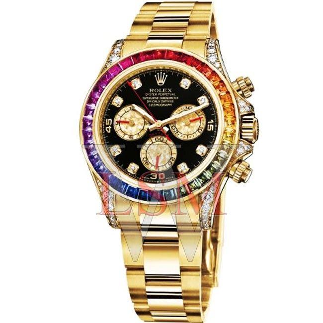 Rolex 18K Yellow Gold Daytona Rainbow Black Diamond-116528RBOW