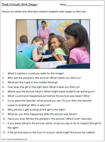 FREE Critical Thinking Worksheet~  What do the body language and the facial expressions say? This picture hints at the potential for some bullying. Worksheets like these help students to think critically. There is no text, therefore students must infer meaning, make predictions, and construct their own meaning based on interpretation of the pictures. Use this critical thinking worksheet with groups or whole class to support critical literacy skills.
