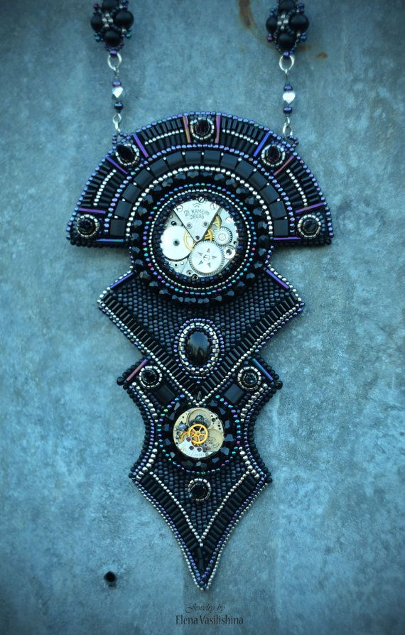 Check out Embroidered Necklace - beadwork jewelry - beaded embroidery jewelry - Steampunk necklace- The Clock King on suzidesign