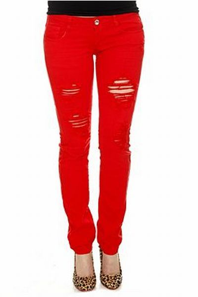 Machine Red Destroyed Skinny Jeans For Women. - 33 Best Jeans Images On Pinterest For Girls, Skinny Jeans And