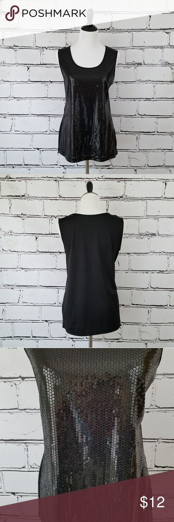 Black Sequin Tank Top! Black tank top with sequins covering the front. Length is about 27 inches and armpit to armpit is about 21 inches. Like new condition - no missing sequins! Notations Tops Tank Tops