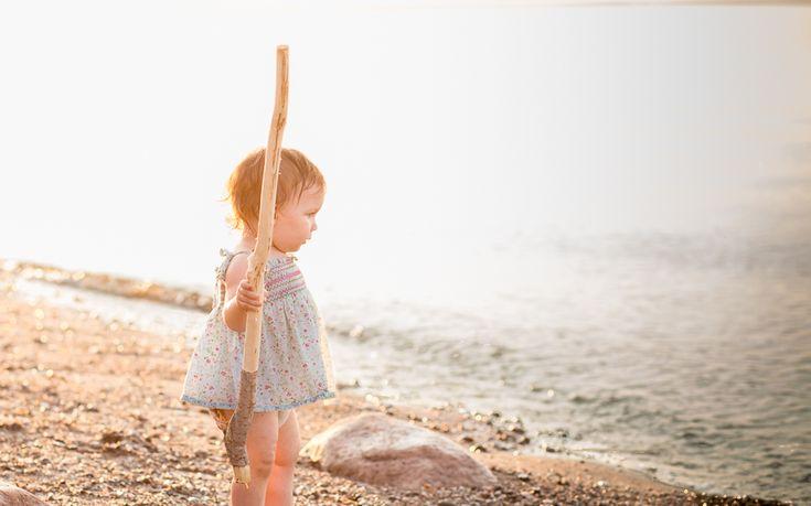 Family Documentary Photography - Baby playing on the beach at sunset - Bathurst NB Photographer-Tara Geldart Photography