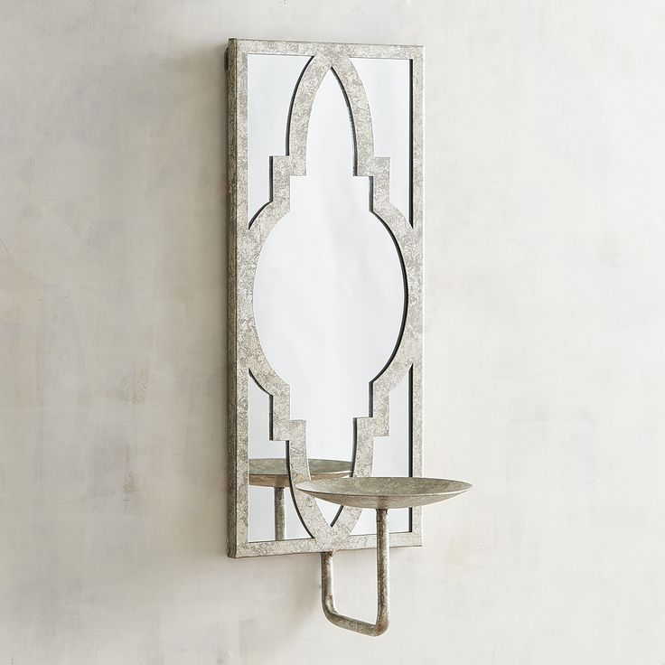 Silver Mirrored Candle Holder Wall Sconce In 2019