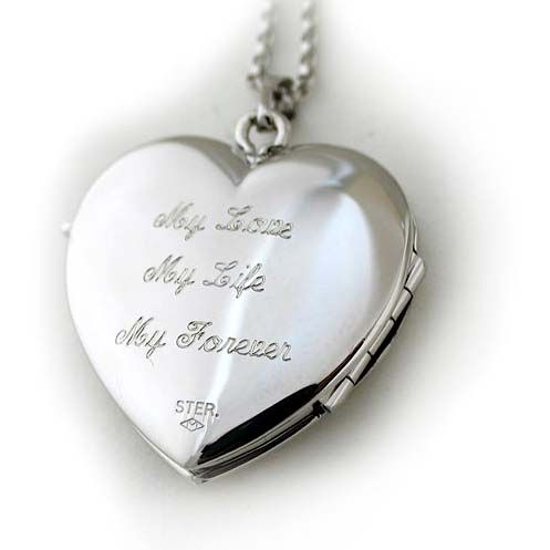 Engrave a special sentiment on your locket as a remembrance of your wedding day