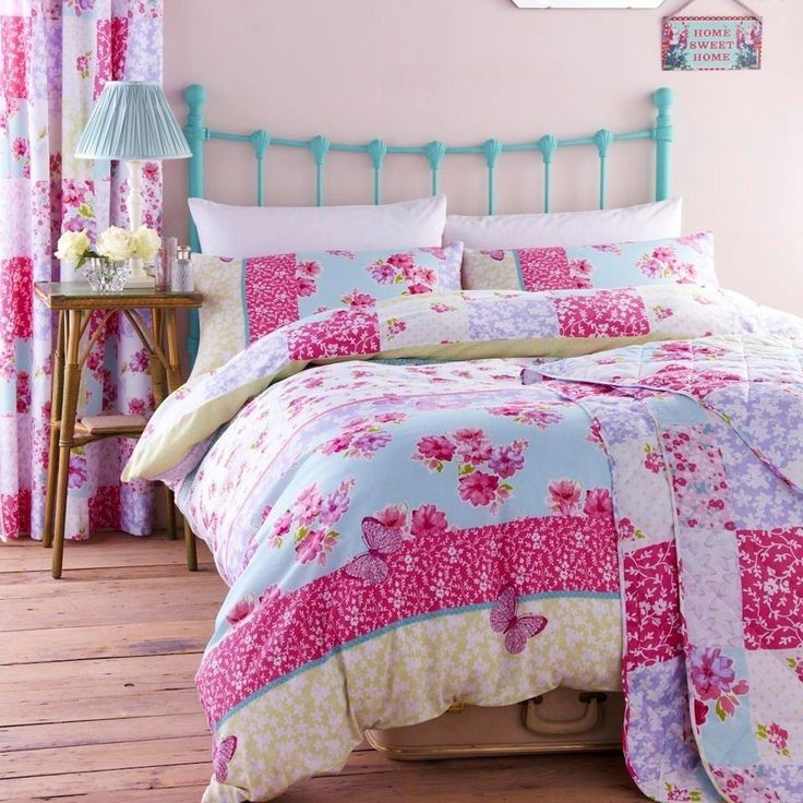 catherine lansfield gypsy patchwork duvet set fresh patchwork style with a floral and butterfly design throughout in blue green and pink in various sizes