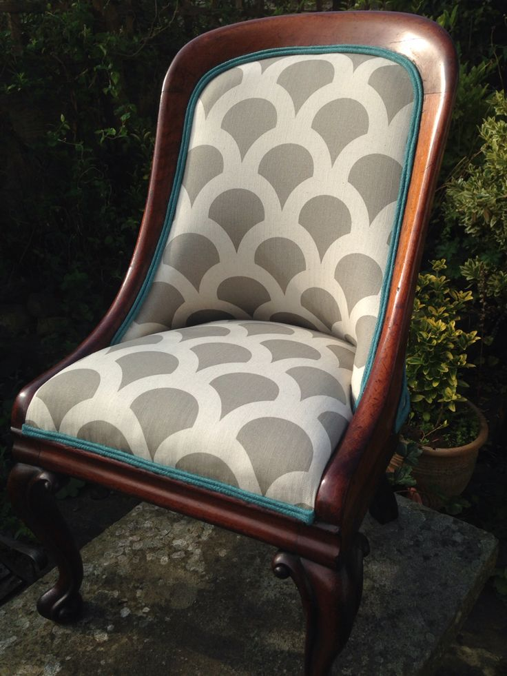 Traditionally upholstered victorian nursing chair in Korla fabric with teal trim! For sale at £650 - one very cool and unique chair!!