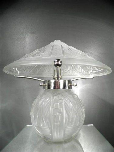1920-30 Muller Frères Lampe champignon en métal et verre pressé-moulé Art Déco