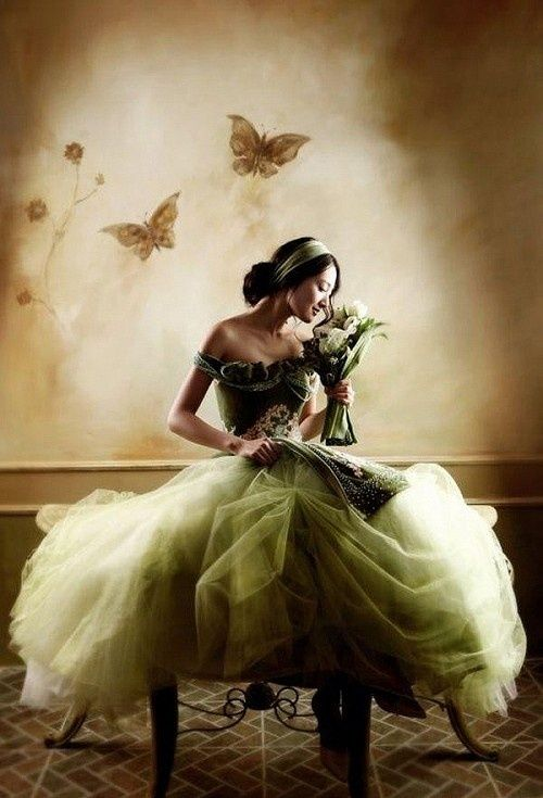 Dreamy green wedding dress.