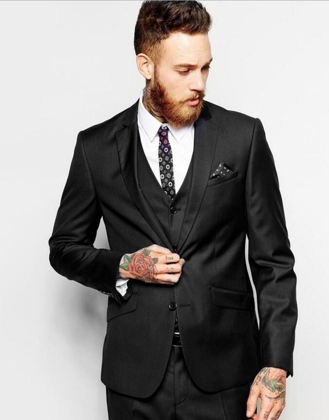 bcdb9fe7c1da Latest Coat Pant Designs Black Men Wedding Suit Custom Made Groom Slim Fit best  man Suits 3 Pieces jacket pant vest