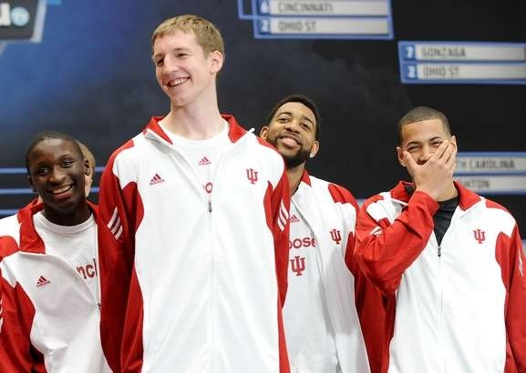 IU Basketball players smile while being interviewed at CNN headquarters in Atlanta on March 21, 2012. The players are, from left: Victor Oladipo, Cody Zeller, Christian Watford and Verdell Jones III. (IU Athletics photo by Mike Dickbernd)
