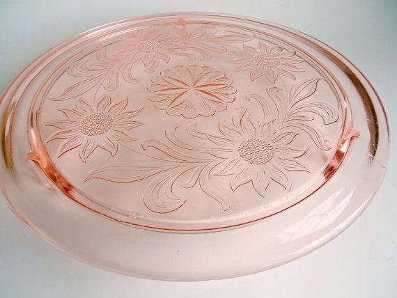 Jeanette glass pink-depression-glass-cake-plate