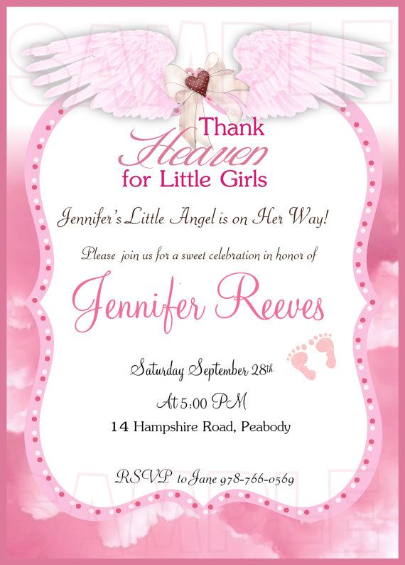 Thank Heaven for little girls baby shower invitation ...