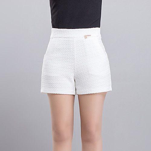 Pantalones cortos negros blancos sólidos de la moda de las mujeres, día casual simple 2017 - $14.99