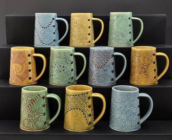 Handmade Coffee Mug Blue tea cup tea mug by Creativewithclay, $40.00