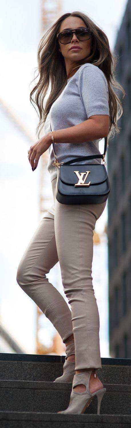Louis Vuitton Bag With Beige Pant And White Sweater