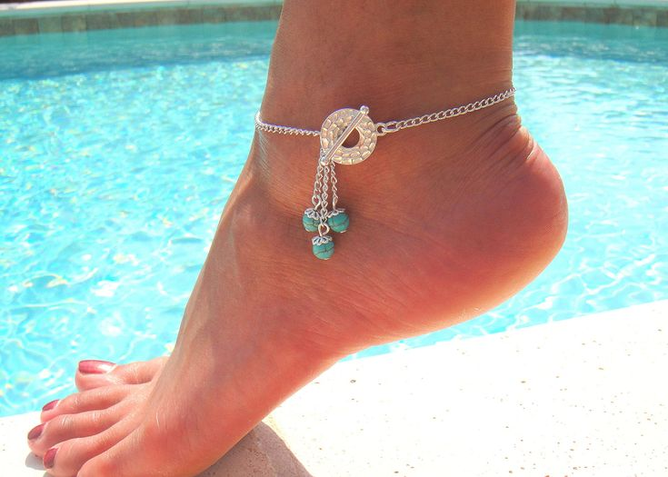 Silver Chain Toggle Anklet with Blue Turquoise beads