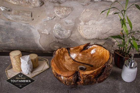 Prêt à livrer Petit Lavabo en bois avec insertion turquoise tibétaine Décor bohème vasque Salle de Bain rustique par TOUTANBWA Évier